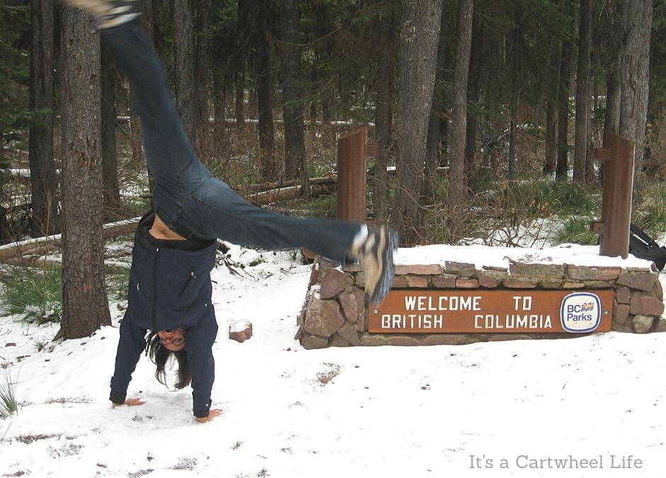 cartwheeling at BC border in Rockies
