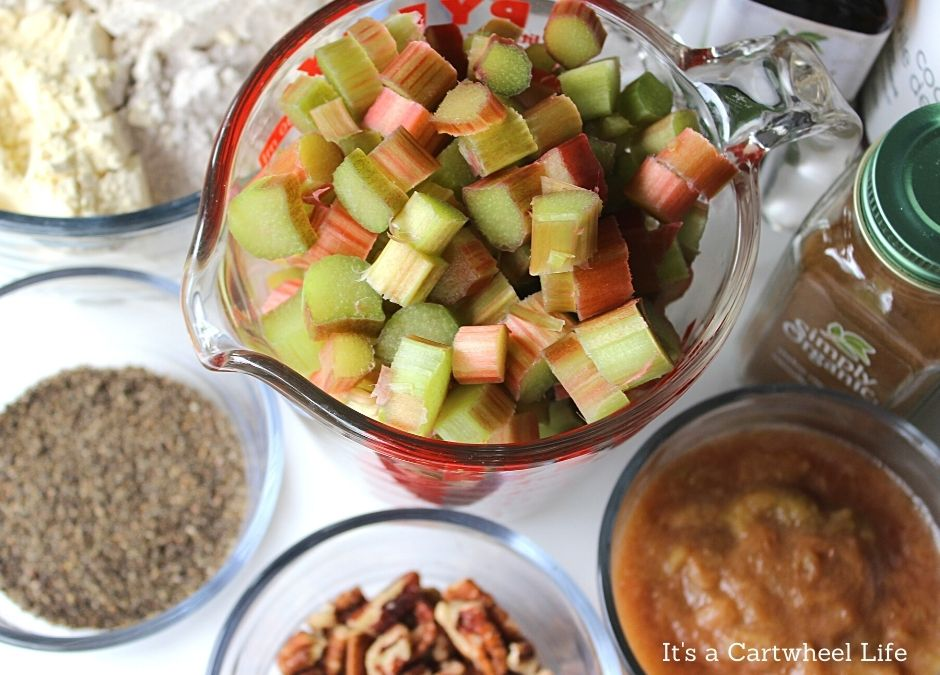 ingredients for rhubarb muffins