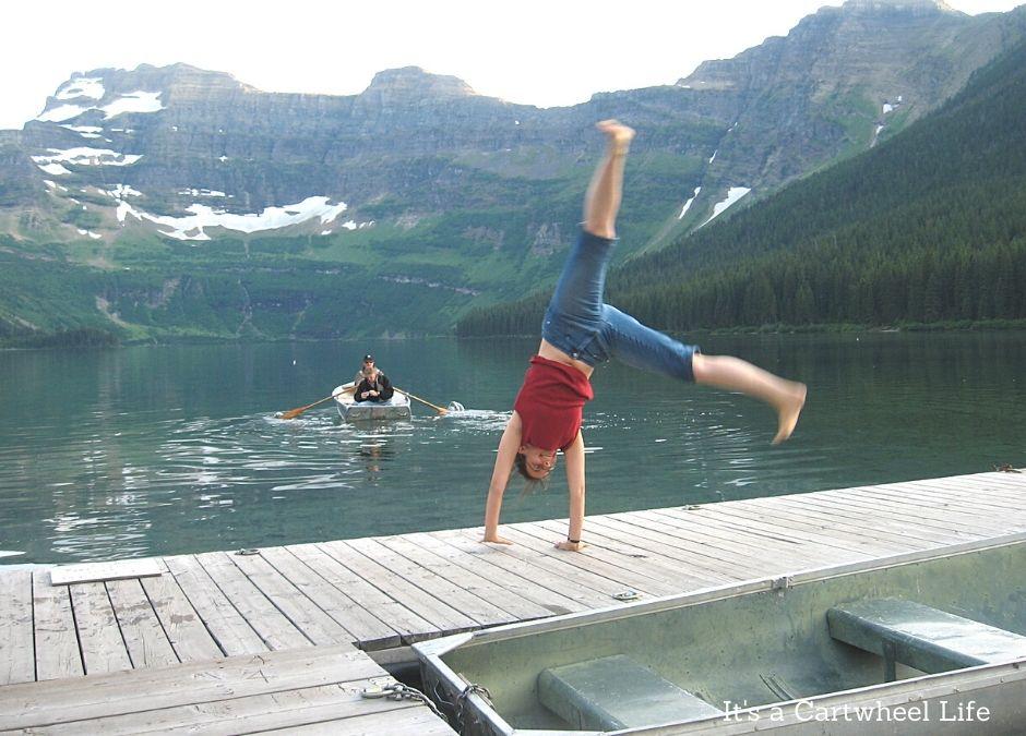 cartwheeling on dock in Waterton