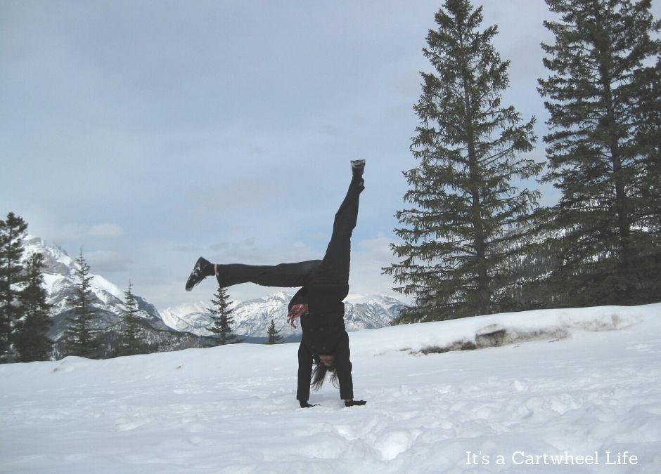 cartwheeling in Banff in the snow