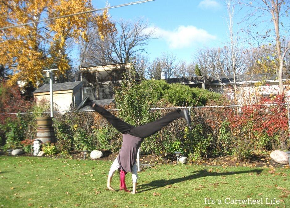 cartwheeling in backyard in Winnipeg